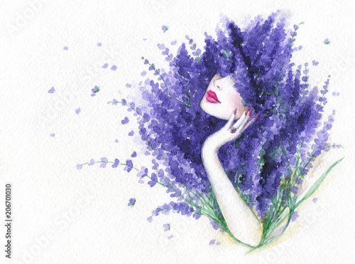 Fotobehang Anna I. beautiful woman and flowers. fashion illustration. watercolor painting