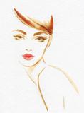 beautiful woman. fashion illustration. watercolor painting - 206701236