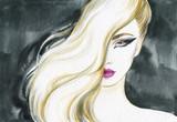 beautiful woman. fashion illustration. watercolor painting - 206701835
