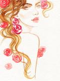 beautiful woman. fashion illustration. watercolor painting - 206702220