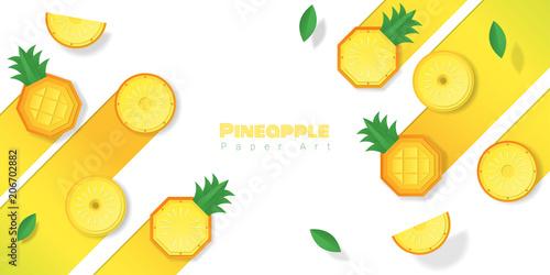Fresh pineapple fruit background in paper art style , vector , illustration - 206702882