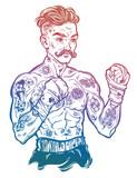 Vintage tattooed retro boxer fighter champion.