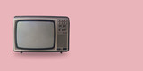 Retro television on pastel color background with space. - 206710247