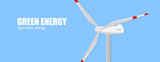 Vector windmill on blue background. Green energy.