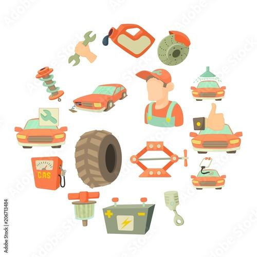 Fotobehang Auto Car repair items set. Cartoon illustration of 16 car repair items vector icons for web