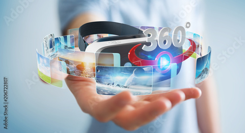 Businessman using virtual reality glasses technology 3D rendering