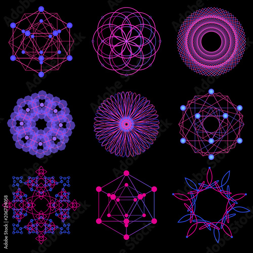 Fotobehang Abstractie Красивые абстрактные узоры, фракталы, вектор