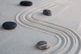 Pyramids of gray zen stones on light sand. Concept of harmony, balance and meditation, spa, massage, relax - 206730420