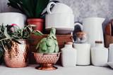 fresh artichoke, rustic kitchen interior, - 206732242