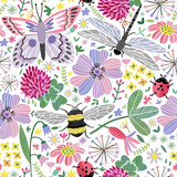 Vector summer meadow seamless pattern. Flowers, butterfly, dragonfly