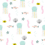 Cute underwater seamless pattern with jellyfish. Vector hand drawn illustration. - 206738871