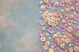 Hearts of flowers of daisies, rose petals, forget-me-nots on a colored background
