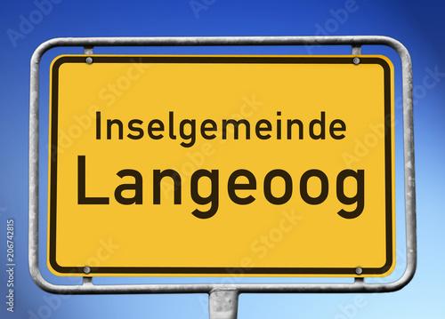 Fotobehang Noordzee Ortstafel Inselgemeinde Langeoog (Symbolbild)