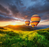 Air ballon above mountains at the summer time. Concept and idea of adventure - 206744646