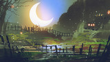 beautiful landscape of garden at night with big crescent moon, digital art style, illustration painting - 206747495