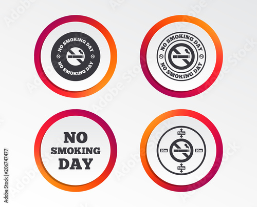 No Smoking Day Icons Against Cigarettes Signs Quit Or Stop Smoking