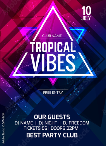 Tropical vibes party flyer poster. Music club flyer design template. DJ advertising, digital creative club intertainment