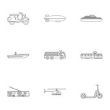 Movement icons set. Outline illustration of 9 movement vector icons for web