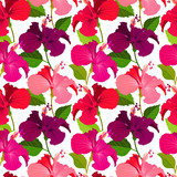 Beautiful seamless floral jungle pattern background. Tropical flowers bright color background. Hibiscus flower realistic vector repeatable design. - 206762455