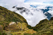 Phuyupatamarca, an impressive archaeological site located along the Inca Trail to Machu Picchu. Cusco, Peru