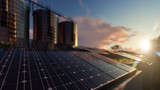 Silos and Solar Panels with Selective Focus and Dramatic Reflections - 206768650