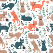 Colorful Seamless Pattern with Cats and Leaves. - 206770251
