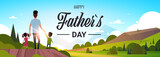happy father day family holiday daughter and son hold dad hand stand back looking sunset concept greeting card flat vector illustration - 206771470