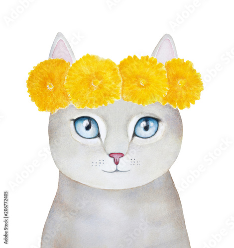 Cat character wearing yellow dandelion head wreath. Big blue eyes, beautiful field flowers, free spirit mood, positive emotions. Hand painted water color graphic illustration on white background. - 206772405