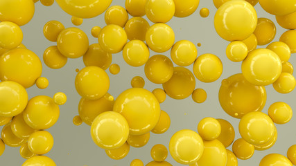 Yellow spheres of random size on white background © GooD_WiN