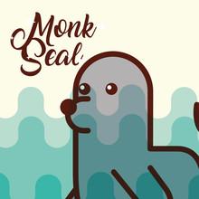 Monk Seal Sea Life Cartoon Fauna Poster  Illustration Sticker