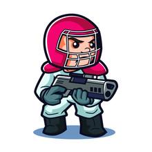 Germ Terminator Mascot Design  Sticker