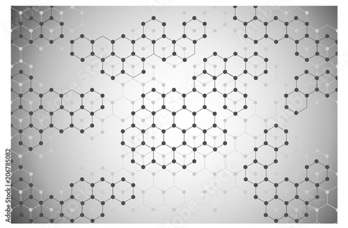 grey hexagon molecule connection on grey background vector illustration