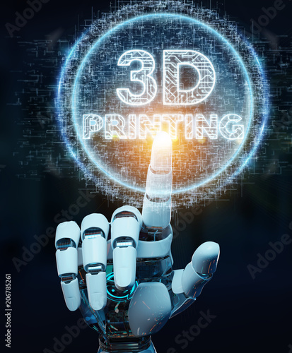 Robot white hand using 3D printing digital hologram 3D rendering