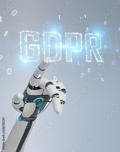 White cyborg hand using digital GDPR interface 3D rendering