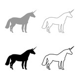 Unicorn icon set grey black color