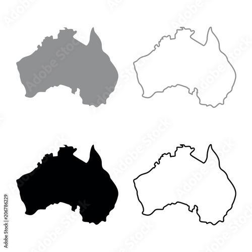 Australia Map Grey.Map Of Australia Icon Set Grey Black Color Buy Photos Ap Images