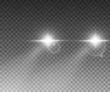 Fototapety Cars light effect. White glow car headlight bright beams ray isolated on transparent background