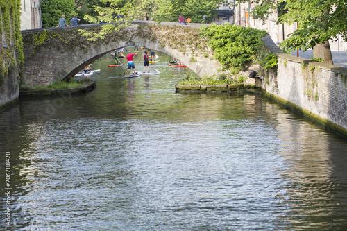 Fotobehang Brugge Bruges , Water Canal , Paddleboard