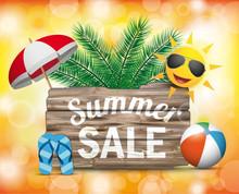 Wooden Board Summer Sale Sun Orange Bokeh Sticker