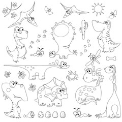set of cute cartoon dinosaurs outline for coloring
