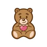 Teddy Love Mascot Design Vector
