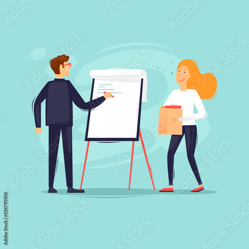 Office life, business analysis, teamwork, man and woman work at the blackboard, conference, meeting. Flat design vector illustration.