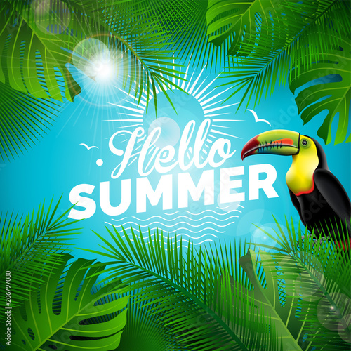 Vector Hello Summer Holiday typographic illustration with toucan bird and tropical plants on blue background. Design template with green palm leaf for banner, flyer, invitation, brochure, poster or - 206797080