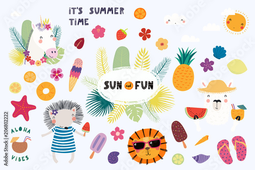 Big Set Of Cute Funny Animals And Summer Design Elements And Quotes