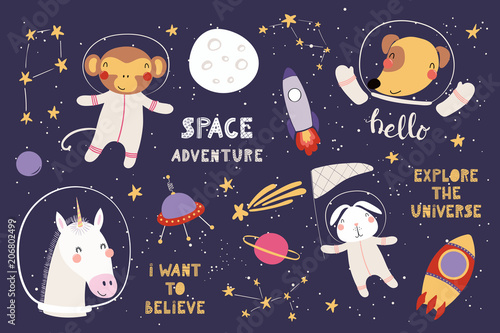 Fototapeta Big set of cute funny animal astronauts in space, with planets, stars, quotes. Isolated objects on white background. Vector illustration. Scandinavian style flat design. Concept for children print.