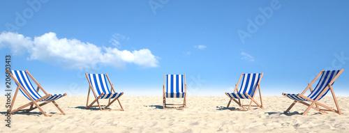 Leinwanddruck Bild Viele Strandstühle auf Sand am Strand