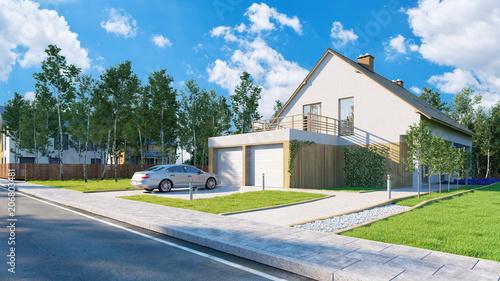 Obraz na płótnie Haus als Hausbau und Eigenheim Konzept