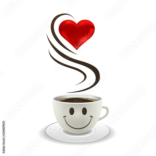 Wall mural love and coffee illustration