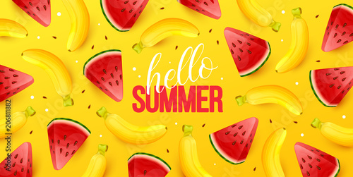 Summer background with fruits. Vector illustration. - 206811882