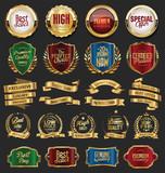 Collection of golden retro vintage badges  - 206816829